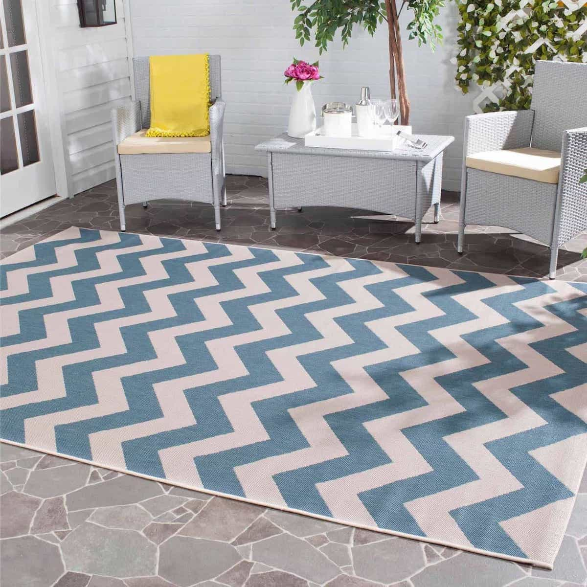 Extravagant Lowes Indoor Outdoor Rugs For Patios Lowes Style In Blue Turquoise Color In Geometric Pattern (Image 9 of 15)