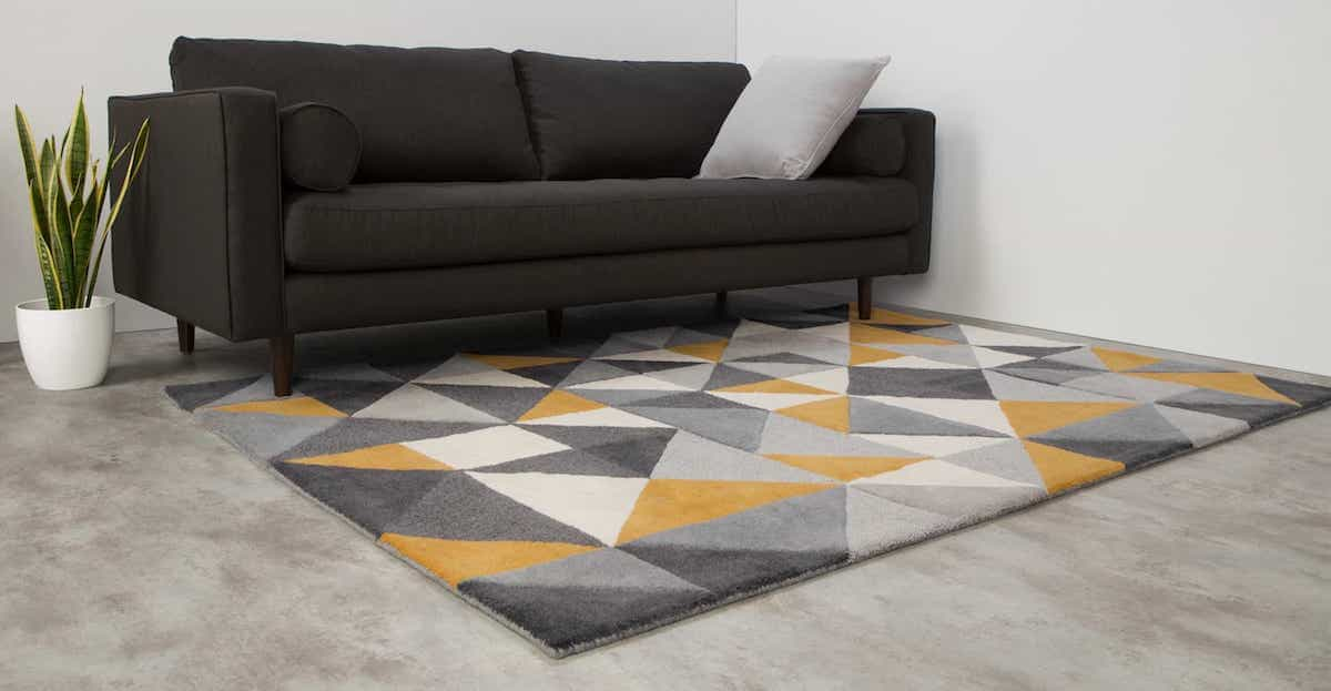 Geometric Pattern Modern Color Wool Rug For Living Room (Image 9 of 15)
