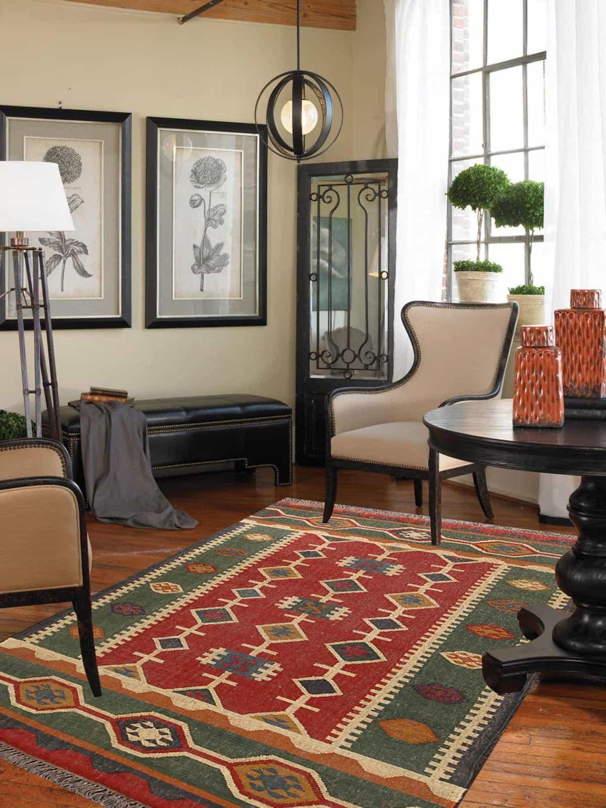 Geometric Pattern Southwestern Multi Handmade Wool Rug (Image 8 of 15)