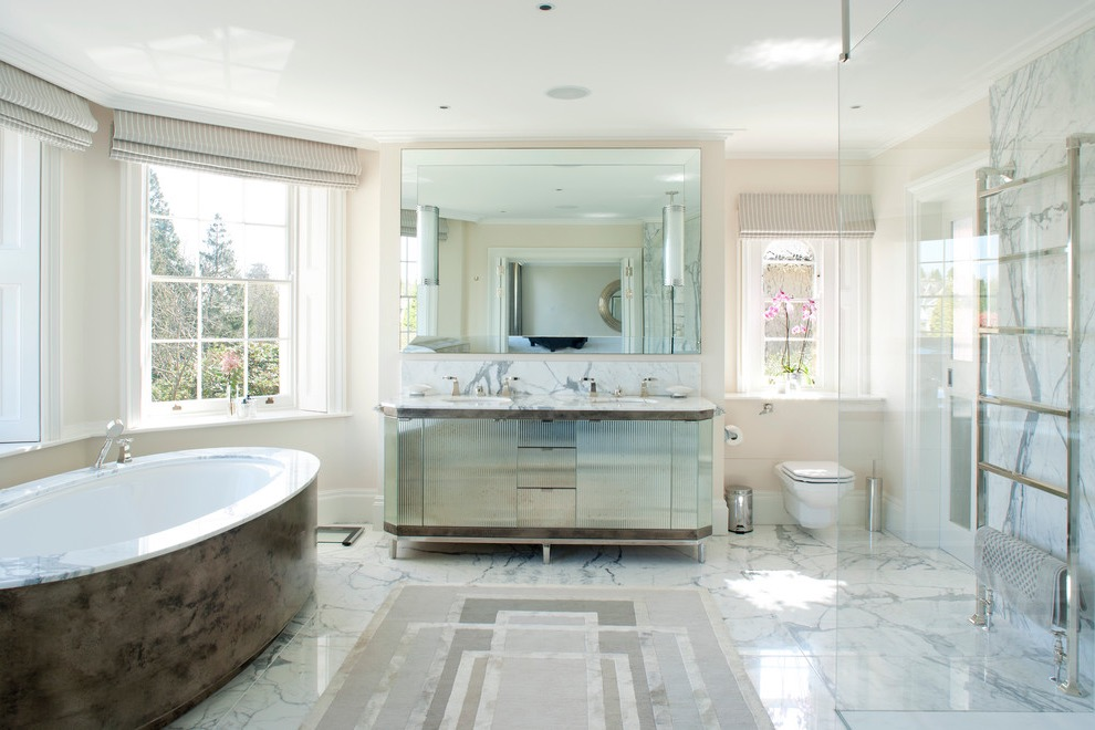 Minimalist Contemporary Bathroom With Large Rectangular Rug (View 11 of 15)