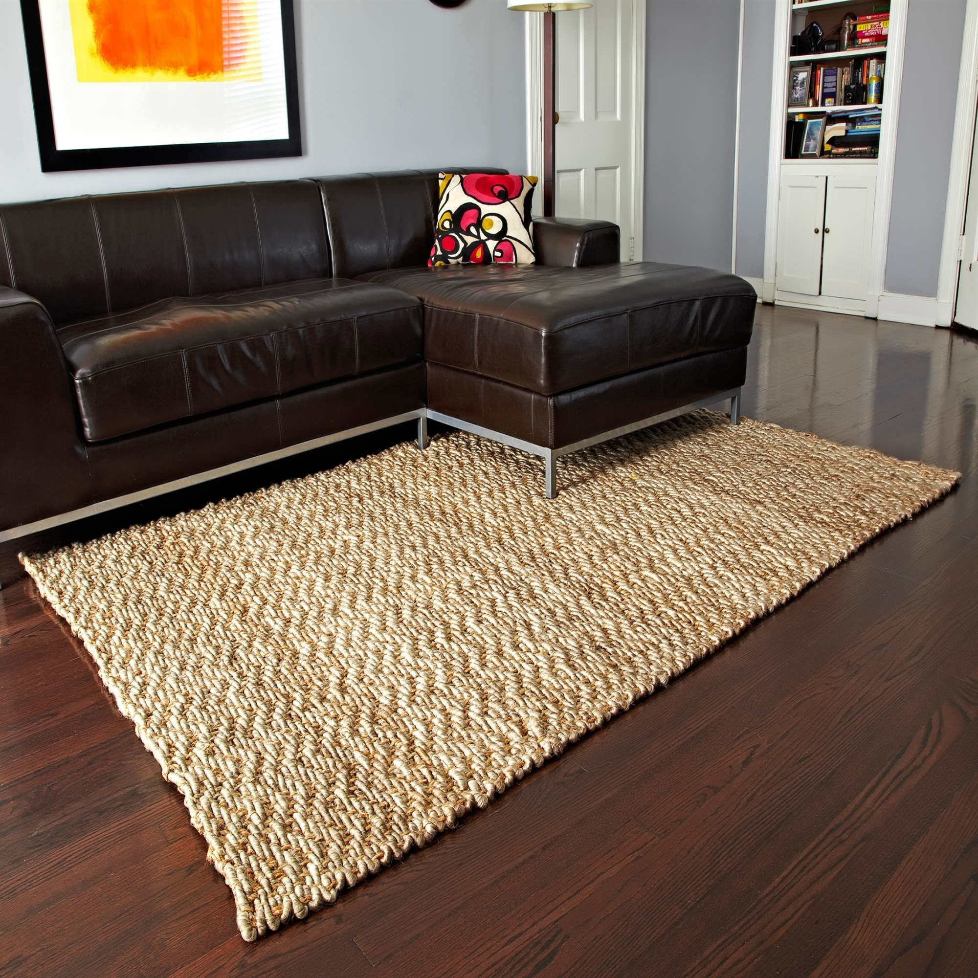 Modern Apartment Living Room Decor With Wood Floor And Square Braided Area Rugs (View 2 of 15)