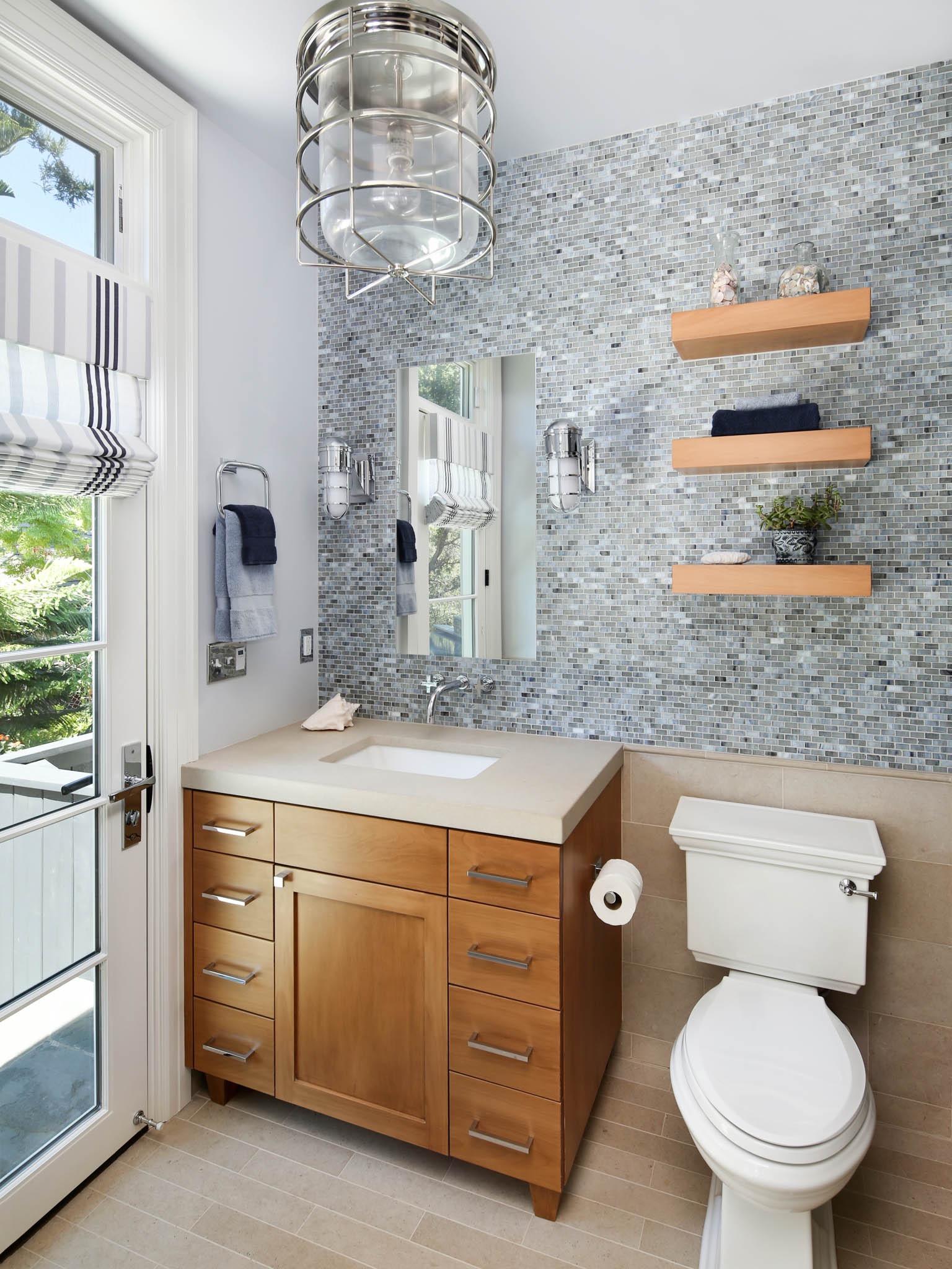 Modern Floating Shelves And Wood Vanity Storage For Modern Bathroom (Image 12 of 20)