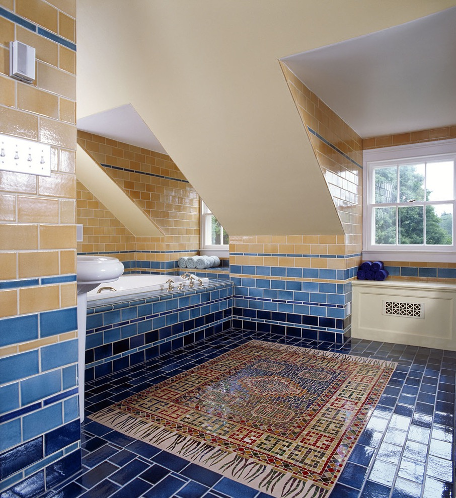 Multicolored Tile Bathroom Design With Persian Rug Decor (Image 10 of 15)