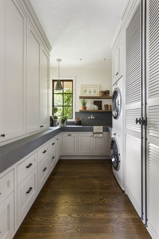 Narrow Laundry Room Wooden Cabinet Storages (Image 14 of 20)