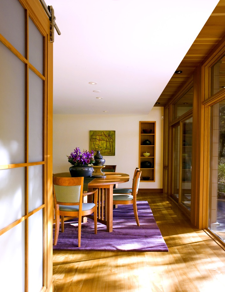 Purple Rug Decor For Contemporary Wooden Dining Room (View 9 of 10)