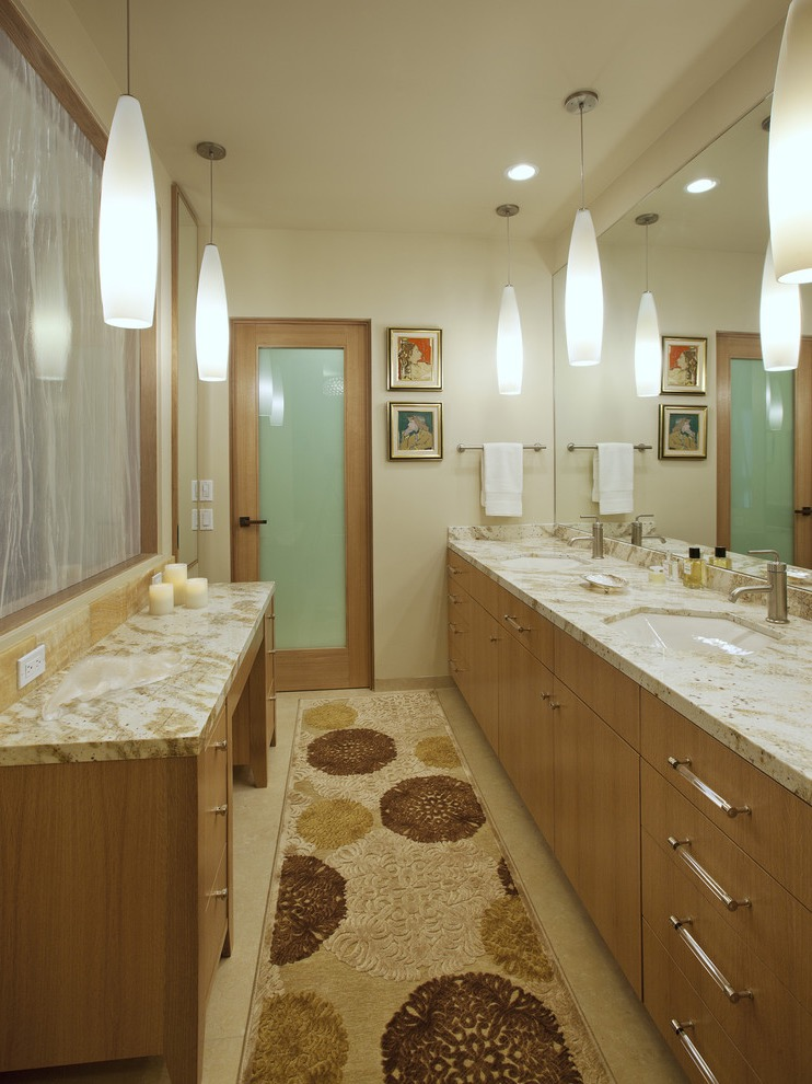 Sleek Contemporary Bathroom With Wool Rug Decoration (Image 12 of 15)