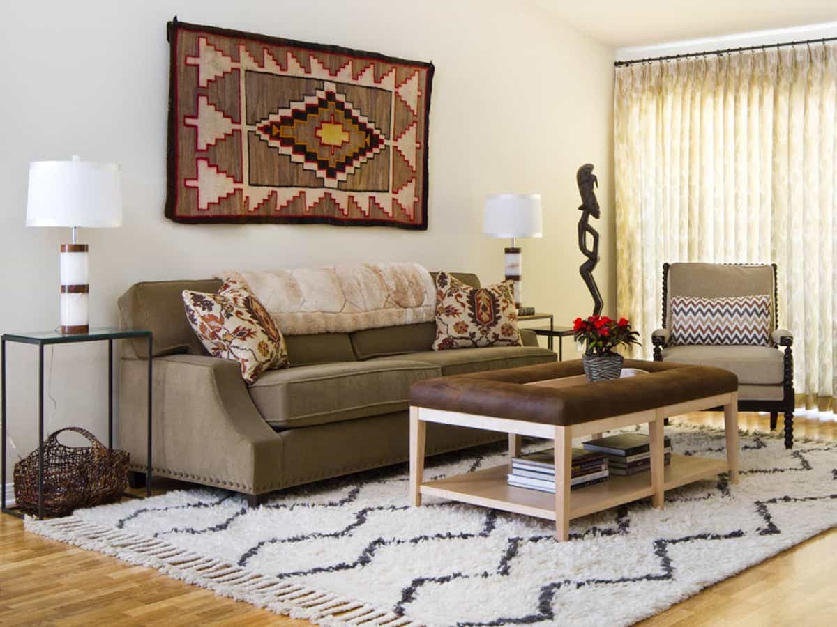 Striped Southwestern Area Rug For Eclectic Living Room With Handwoven Basket And Contemporary Lamp (Image 14 of 15)