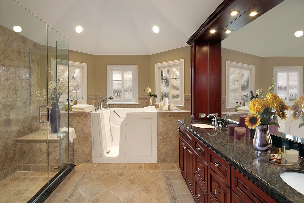 Transitional Bathroom Remodel With Modern Shower And Walk In Tubs (Image 15 of 15)