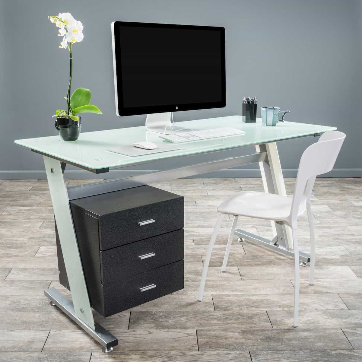 Frosted White Glass Computer Desk And Cabinet Drawers For Modern Home  Office (Image 1 Of