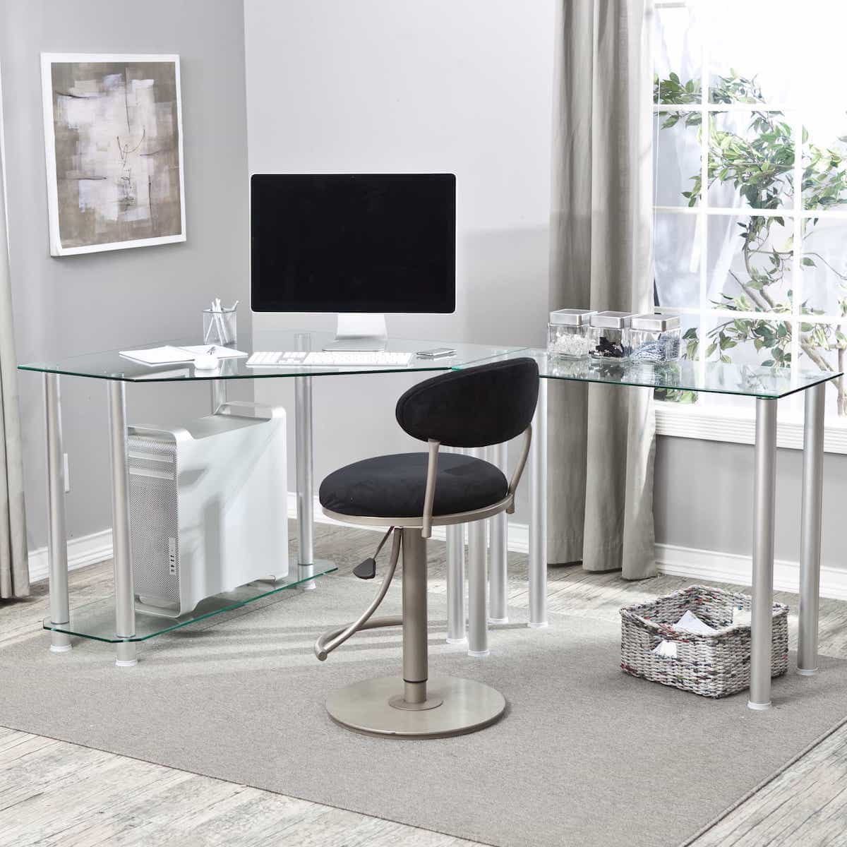 Modern Glass L Shaped Computer Desk With Chrome Finishing For Modern Home Office (View 4 of 8)