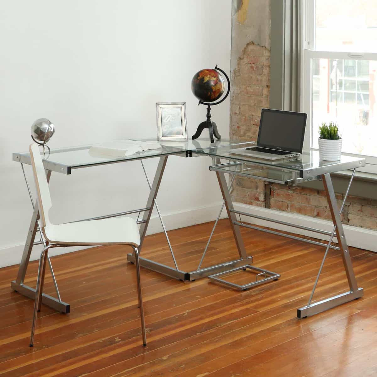 Portable Glass And Metal Corner Computer Desk For Apartment Home Office (Image 6 of 8)