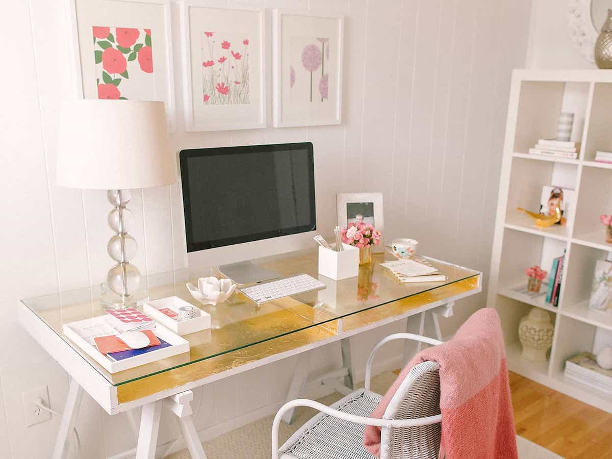 White Glass Desk For Home Office With Glam Gold Leaf Desk (View 8 of 8)