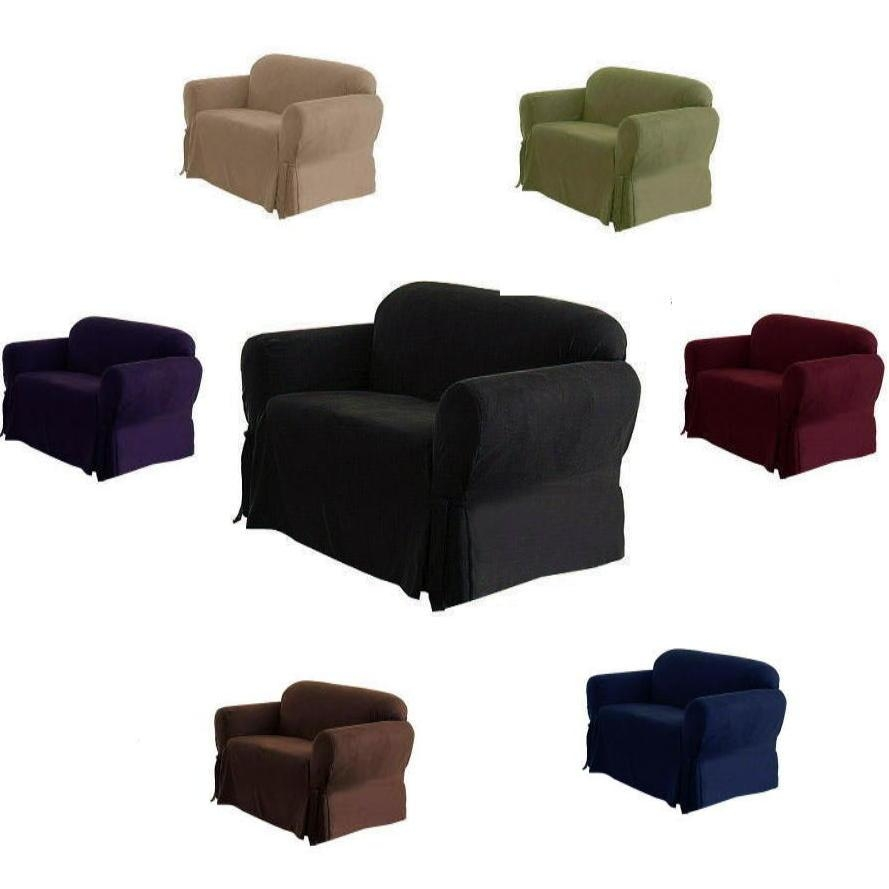 1 Piece Luxury Micro Suede Sofa Loveseat Arm Chair Slip Cover pertaining to Black Slipcovers for Sofas