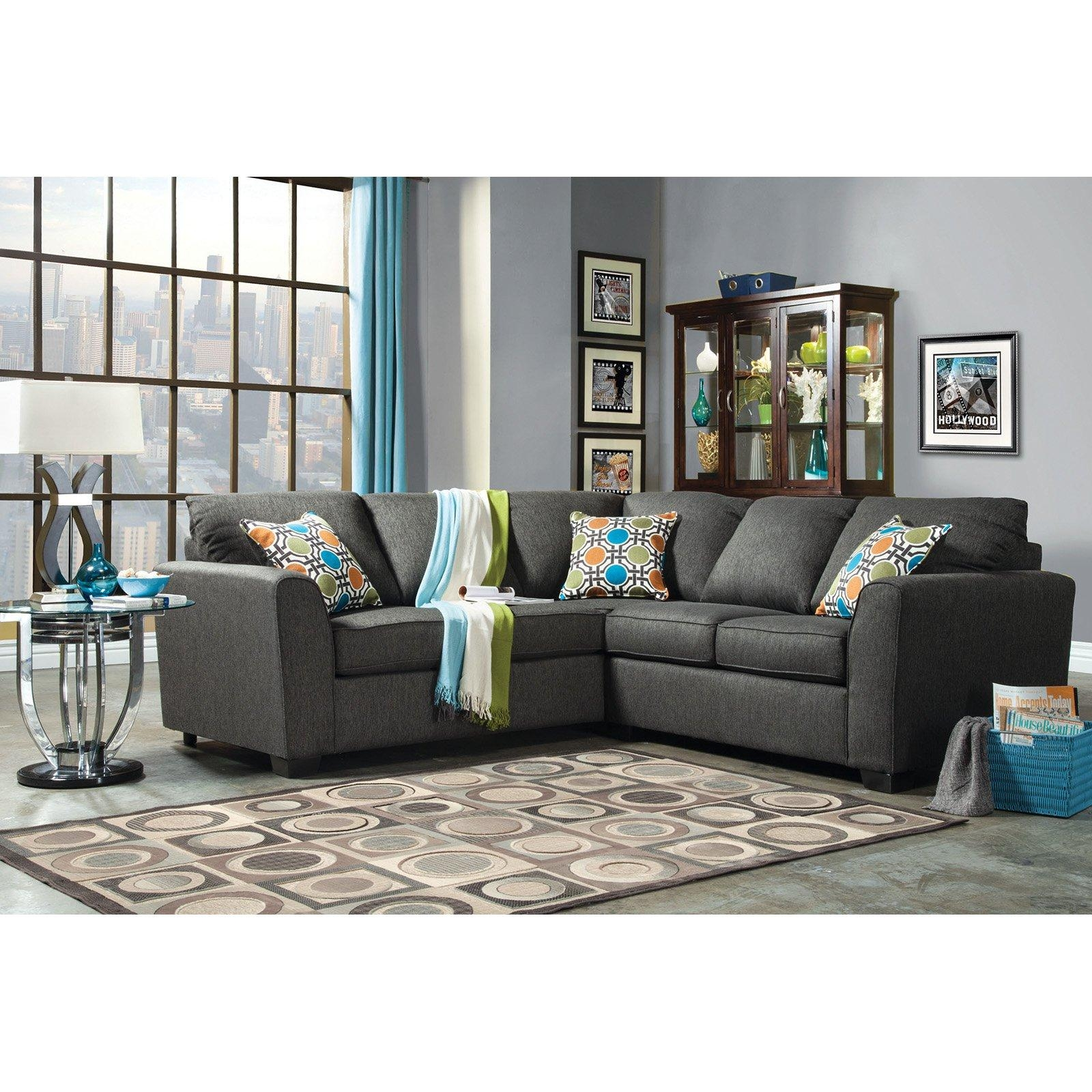10 Spring Street Ashton Microfiber Sectional – Walmart Regarding Small 2 Piece Sectional (Image 1 of 20)
