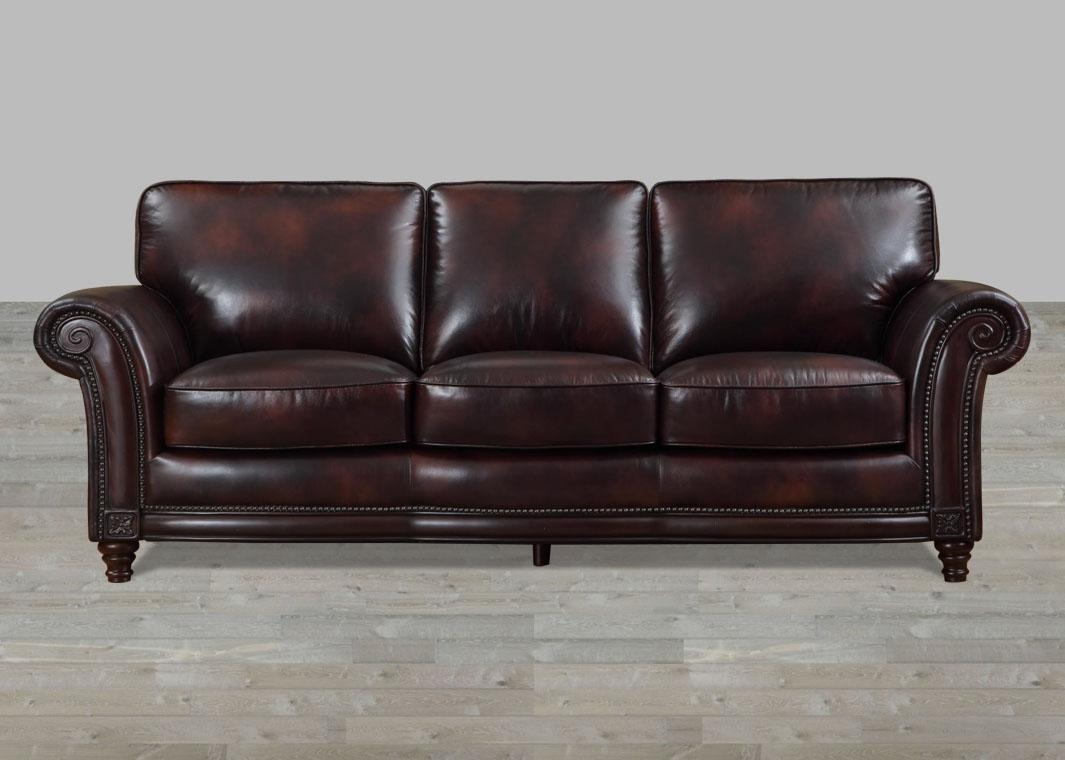 100% Full Grain Leather Sofa With Nailheads regarding Full Grain Leather Sofas
