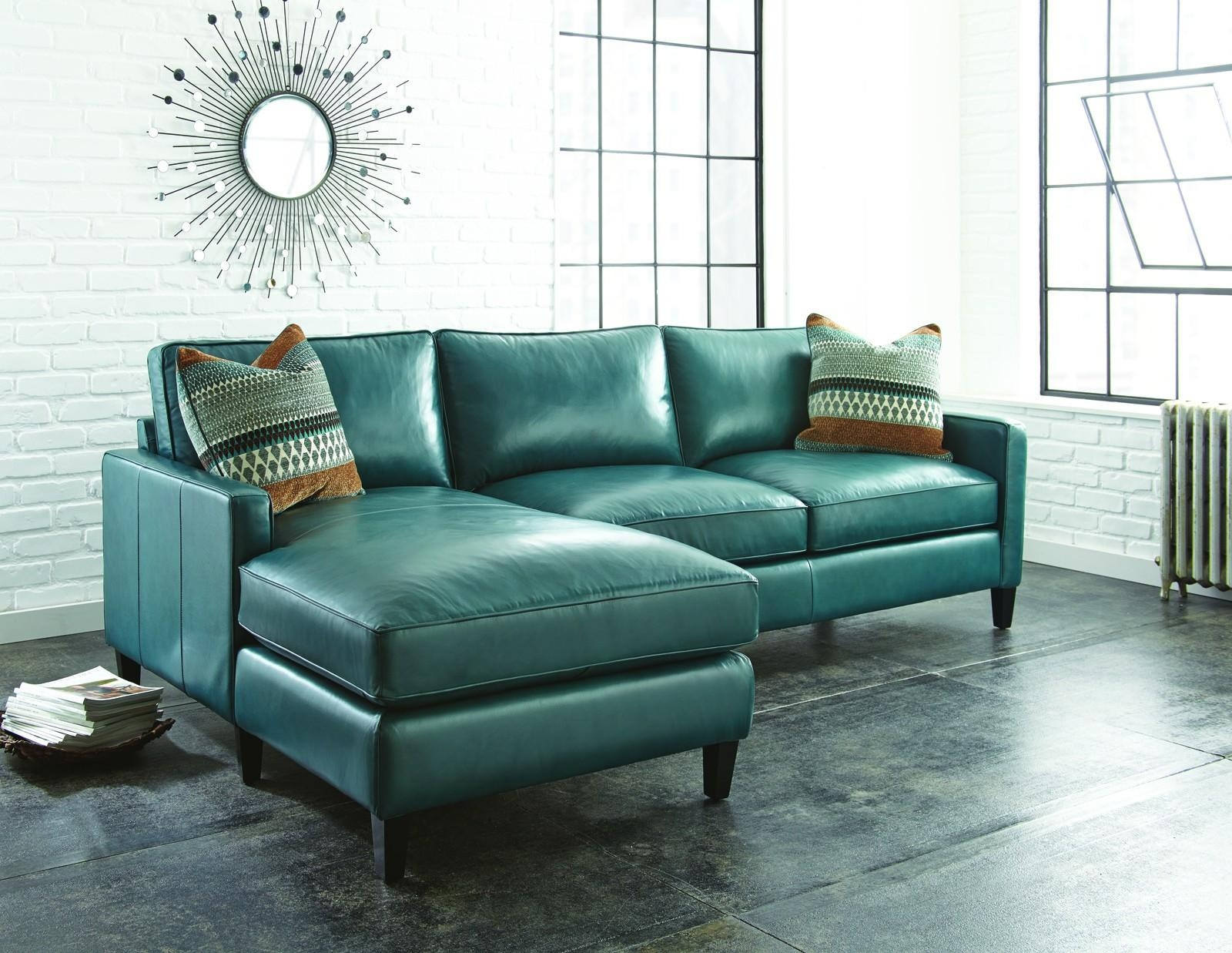 12 Green Leather Sectional Sofa | Carehouse Throughout Media Sofa Sectionals (Image 1 of 20)