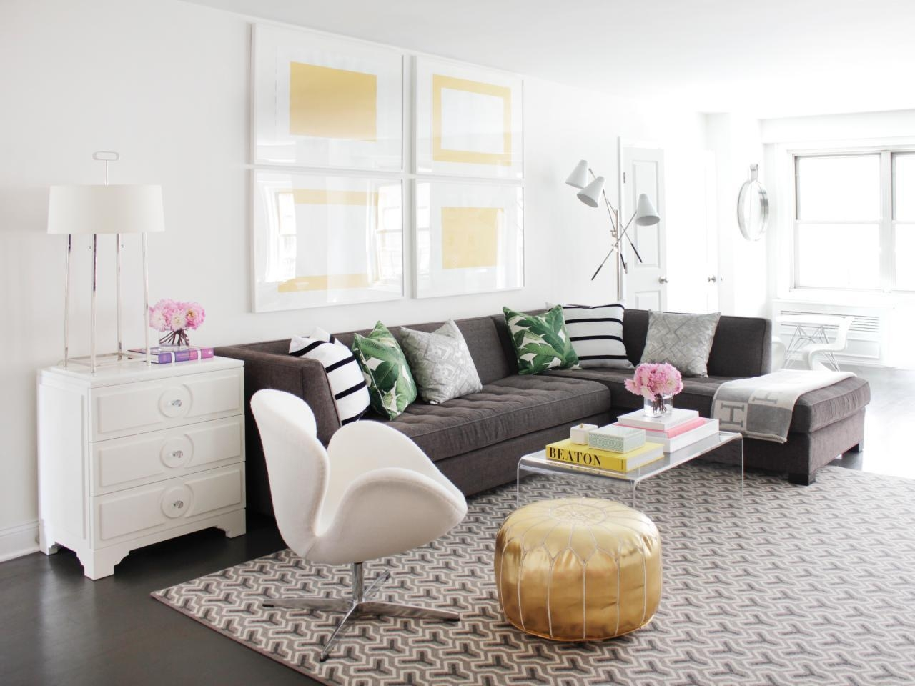 12 Living Room Ideas For A Grey Sectional | Hgtv's Decorating Inside Decorating With A Sectional Sofa (Image 1 of 15)