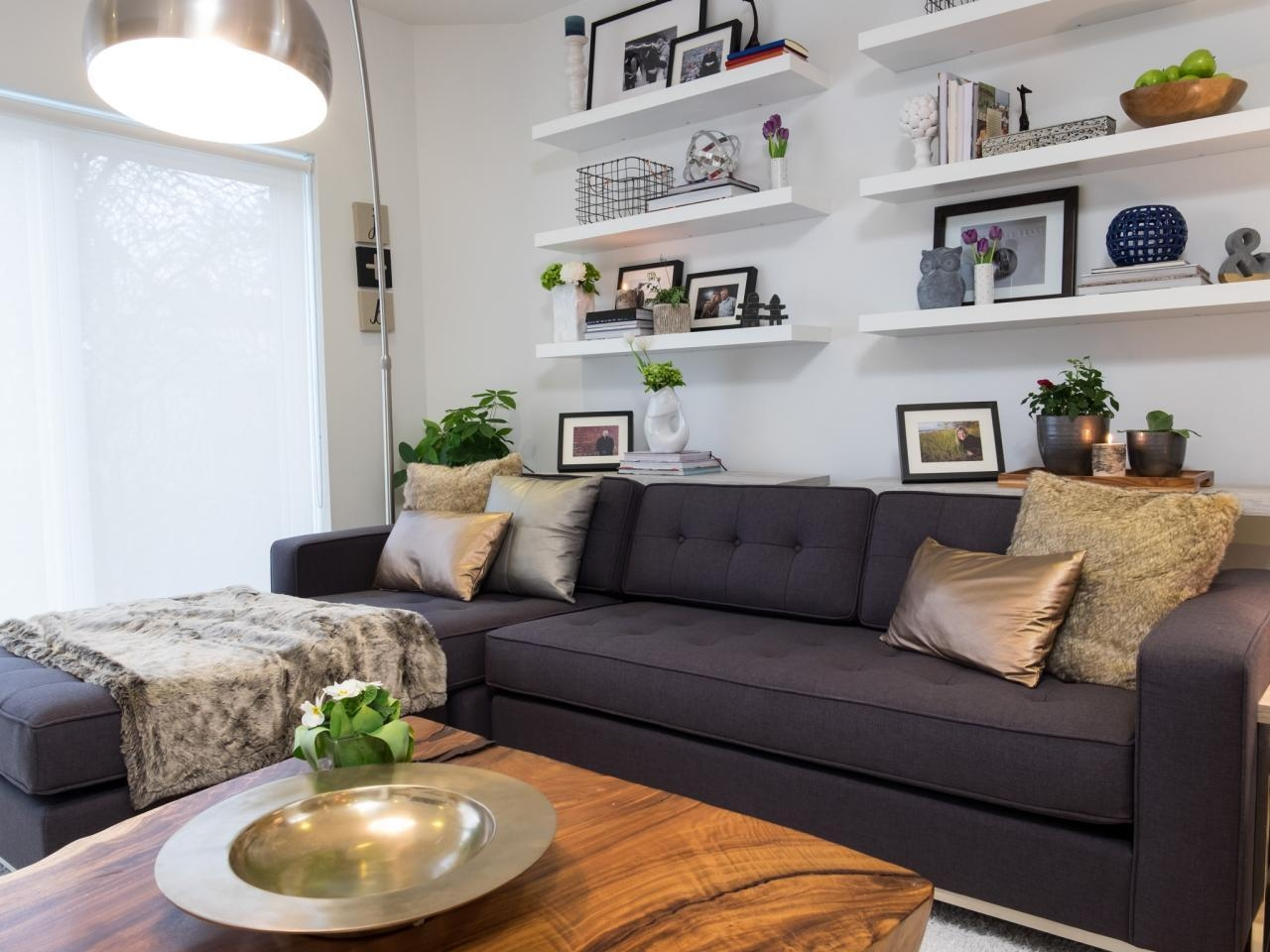 12 Living Room Ideas For A Grey Sectional | Hgtv's Decorating Within Decorating With A Sectional Sofa (View 7 of 15)
