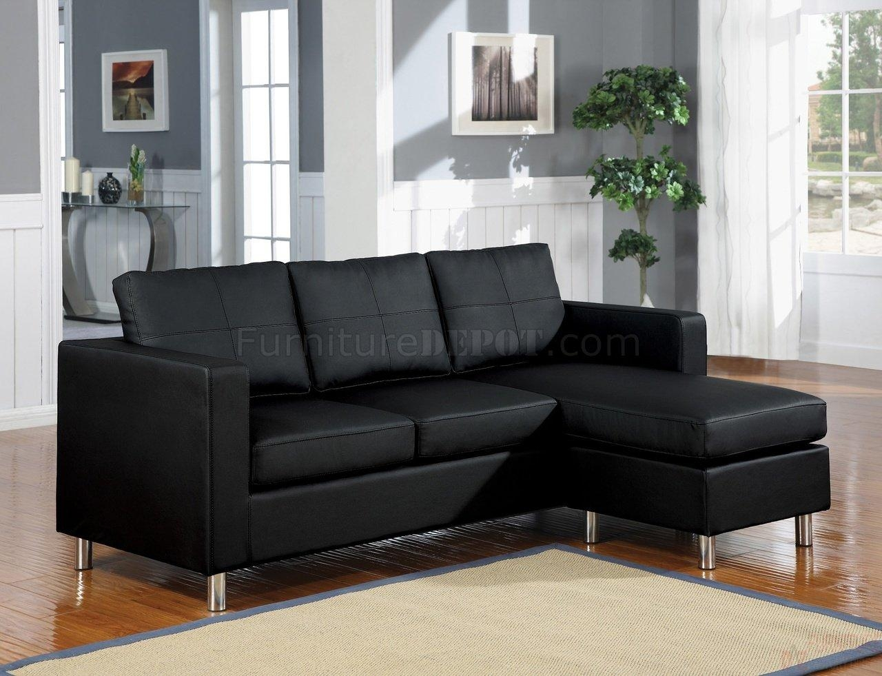 15065 Kemen Sectional Sofa In Black Vinylacme regarding Black Vinyl Sofas