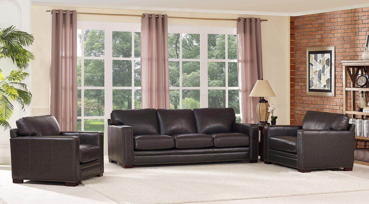 17 Stories Caitlynne Wood Frame Leather Sofa And Chair Set | Wayfair Intended For Sofa And Chair Set (Image 1 of 20)