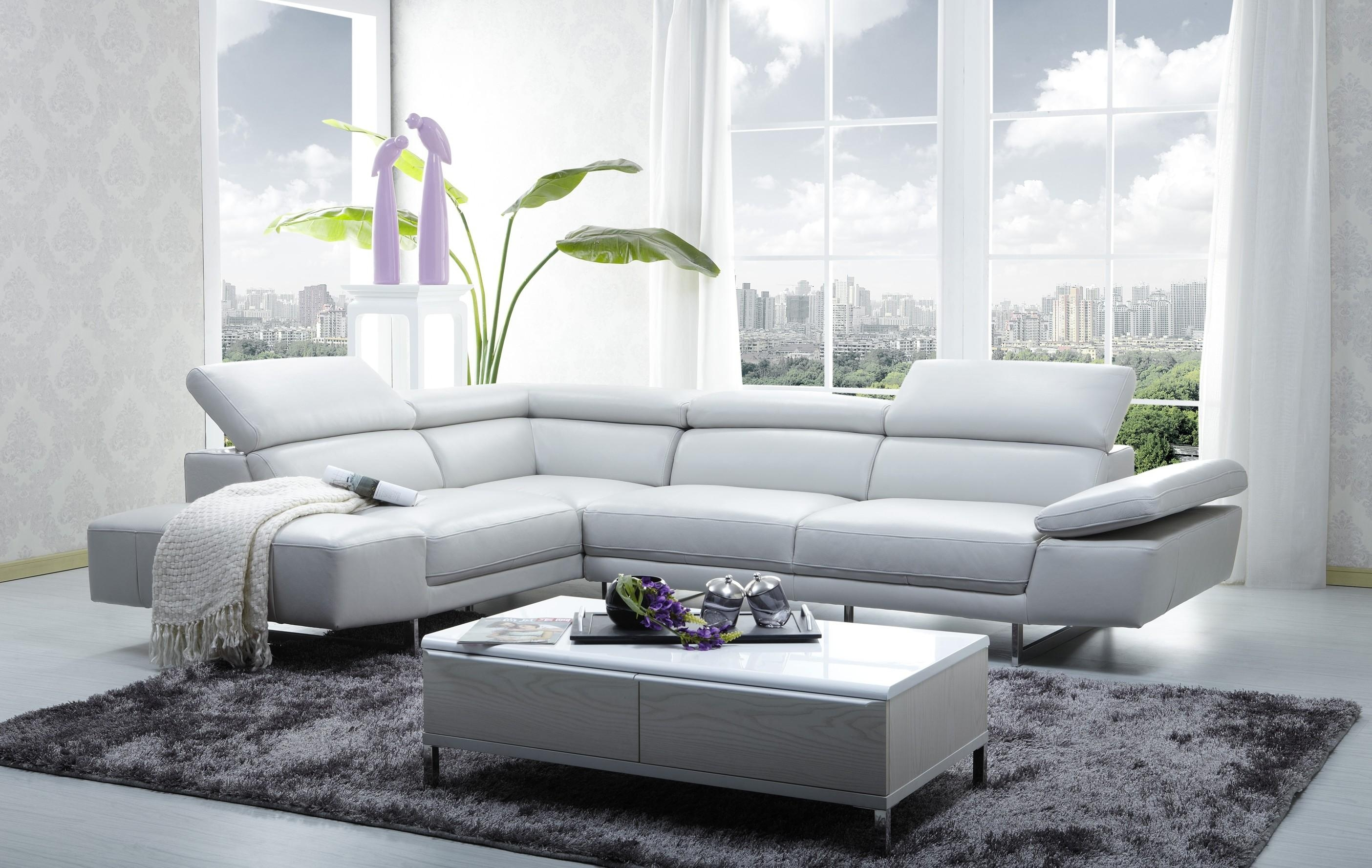 1717 Italian Leather Modern Sectional Sofa within Modern Sofas
