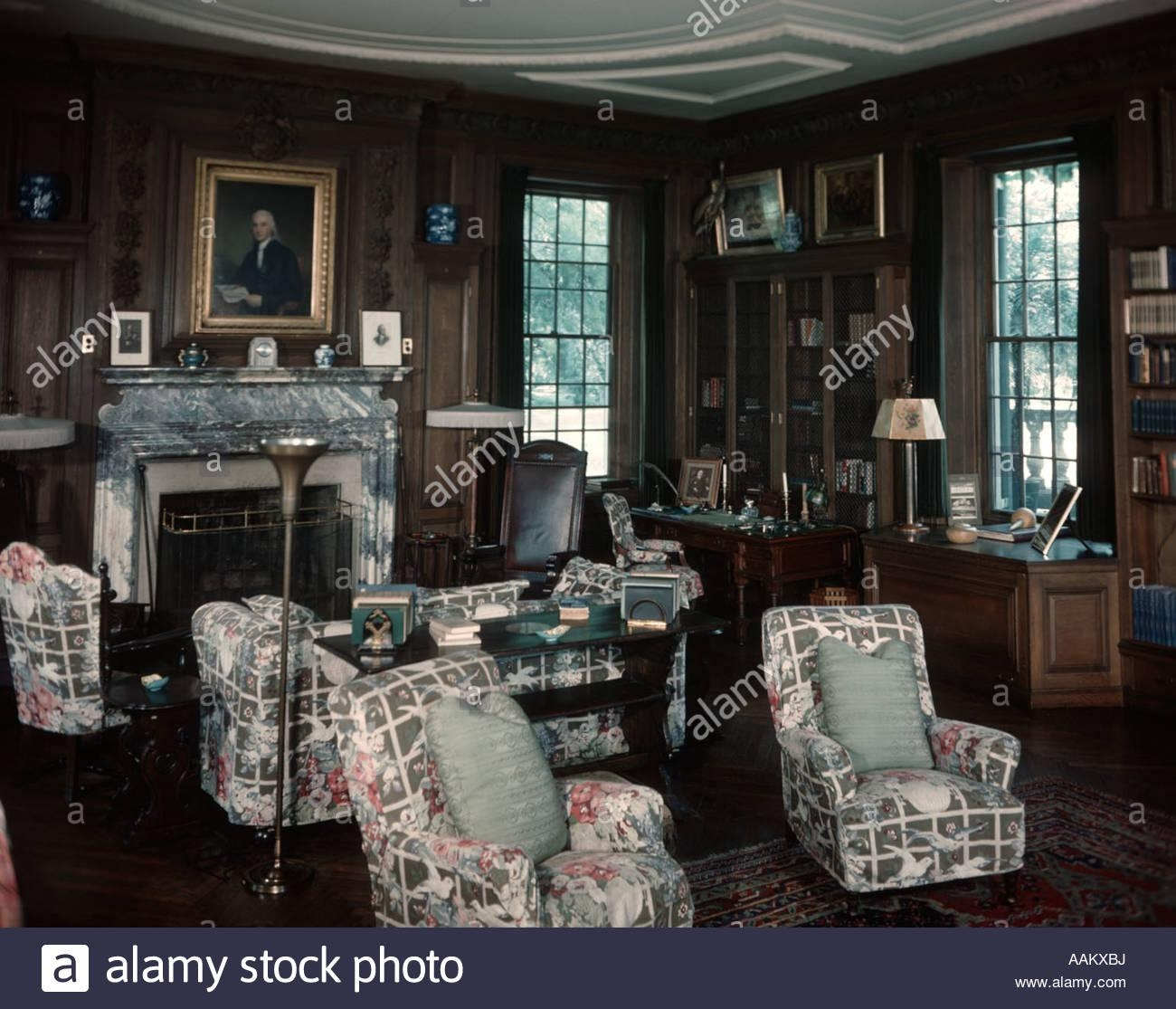 1930S 1940S Interior Of Library Room With Chintz Covered Chairs in Chintz Covered Sofas
