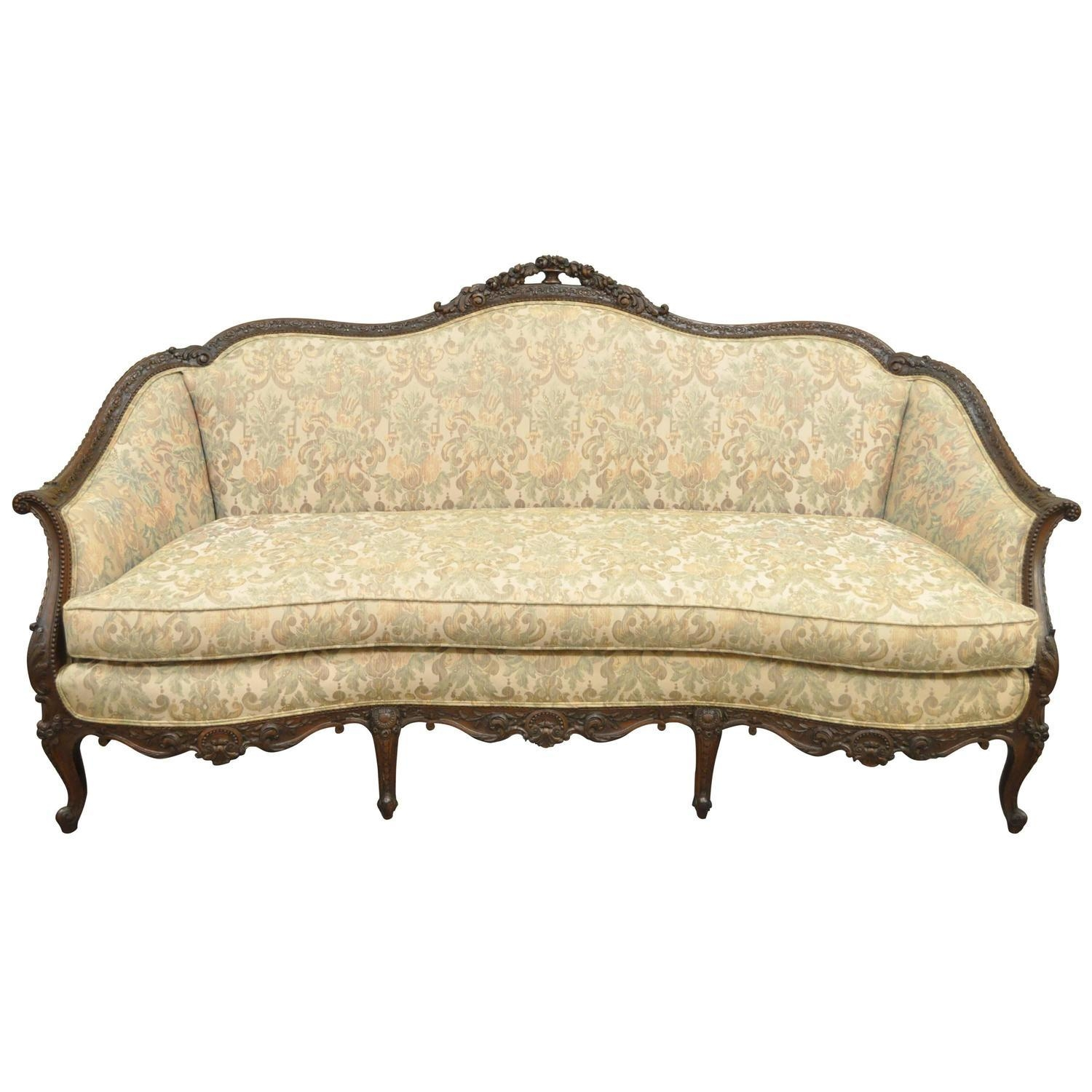 1930S French Louis Xv Hollywood Regency Style Finely Carved within French Style Sofa