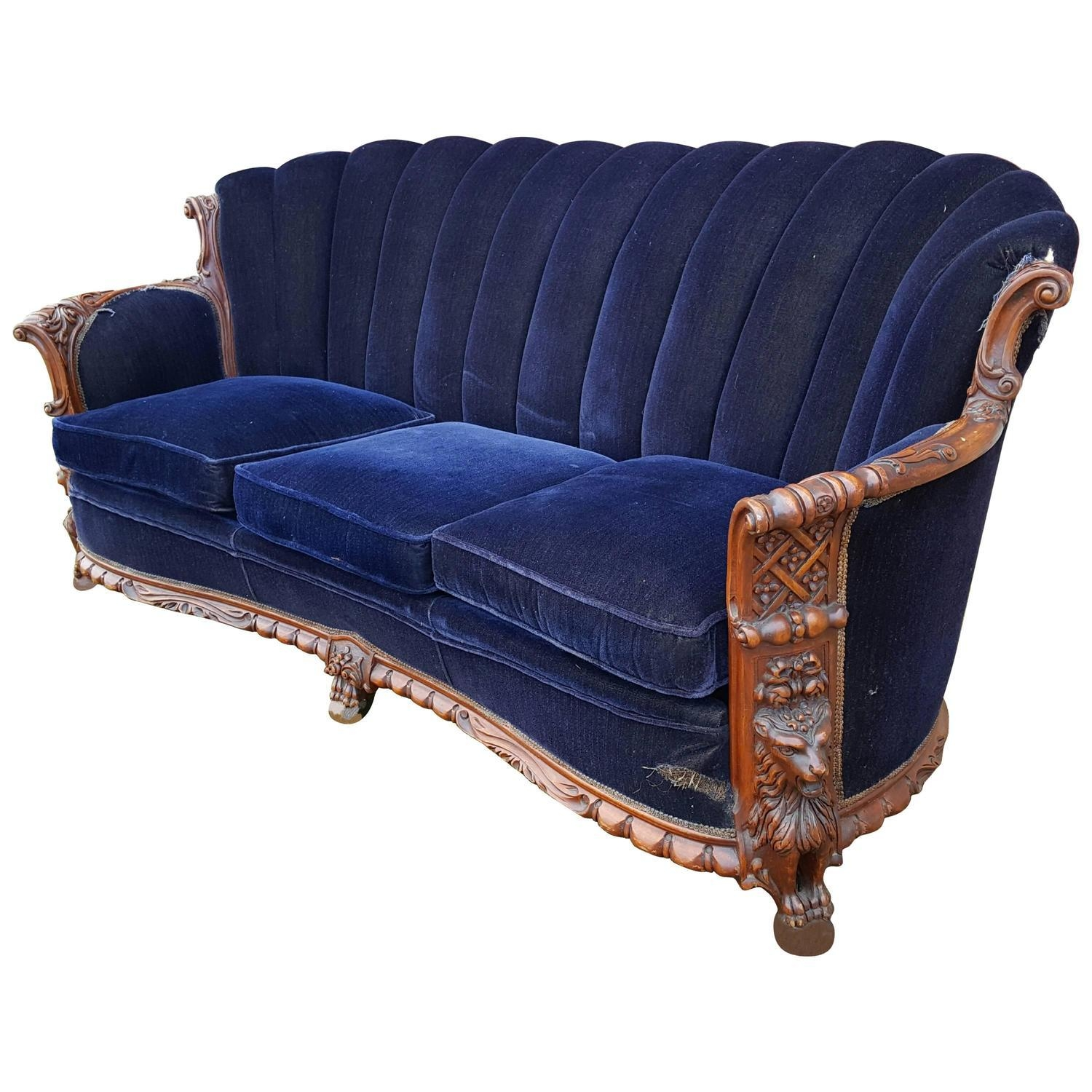1930S Mohair And Carved Wood Sofa, Carved Lion Motif At 1Stdibs With Carved Wood Sofas (Image 1 of 20)