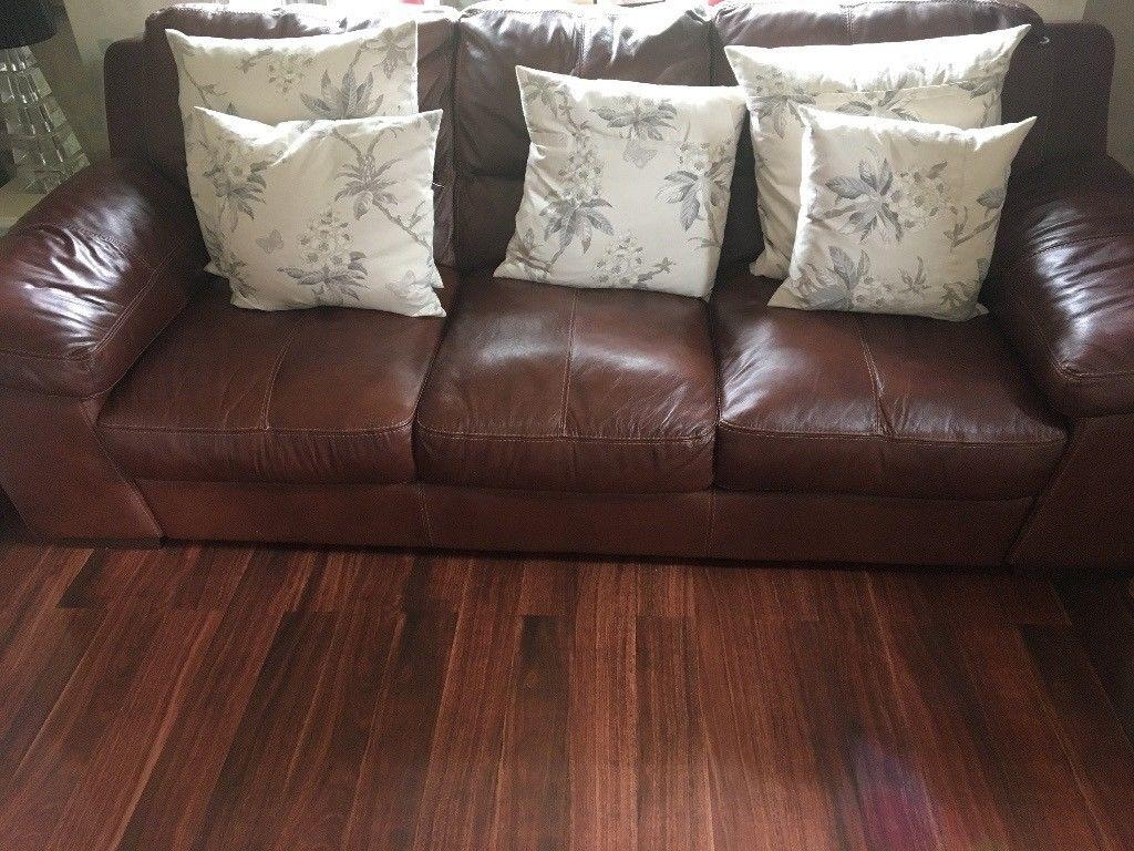 2  3 Seater Leather Sofas Very Large Excellent Condition | In Intended For Very Large Sofas (Image 2 of 20)
