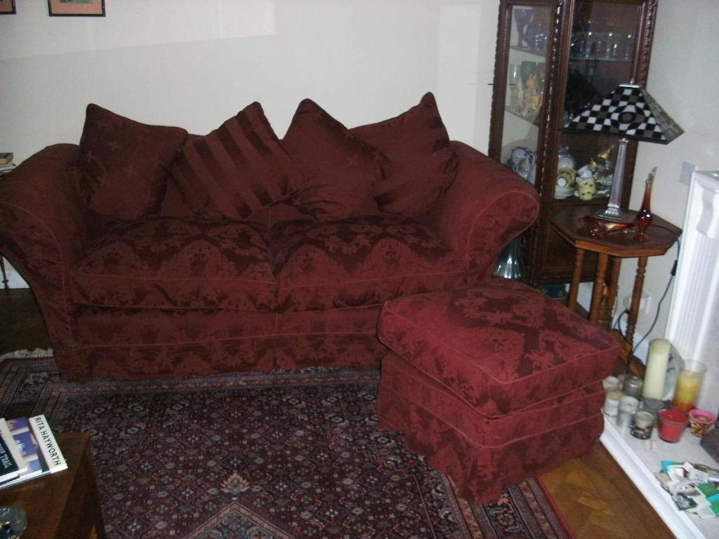2 Gorgeous Burgundy Brocade Sofas | In Sutton, London | Gumtree With Brocade Sofas (Image 3 of 20)