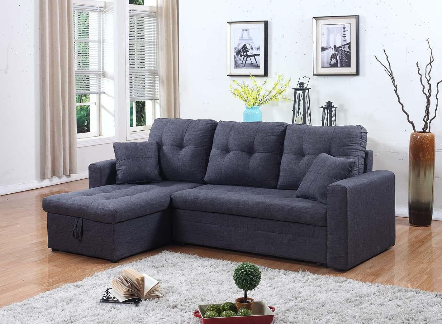 2 Pc Gray Fabric Sectional With Storage Chaise And Pull Out Bed Within Pull Out Sectional (View 12 of 20)