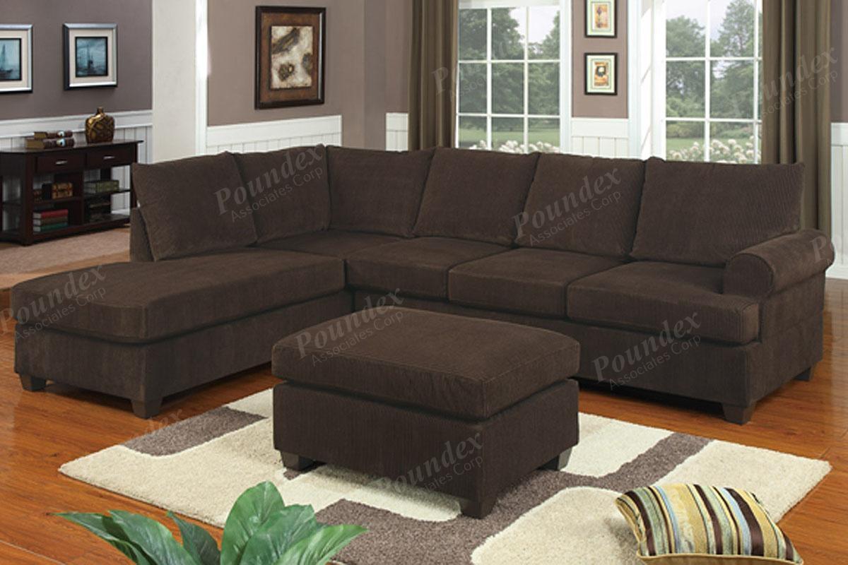 2 Pcs Sectional Sofa | Sectional Sofa | Bobkona Furniture Regarding Poundex Sofas (View 4 of 20)
