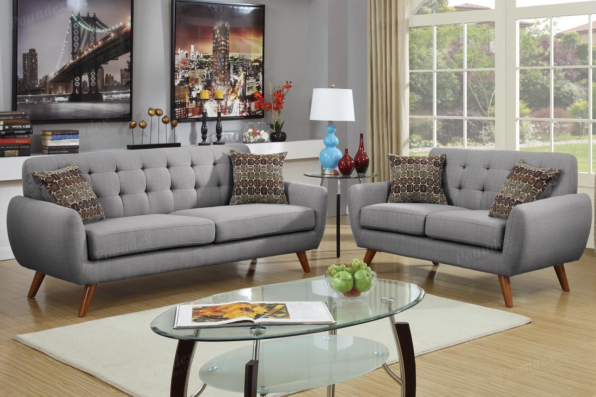 2 Pcs Sofa Set | Sofa / Loveseat | Bobkona Furniture | Showroom Intended For Poundex Sofas (Image 4 of 20)
