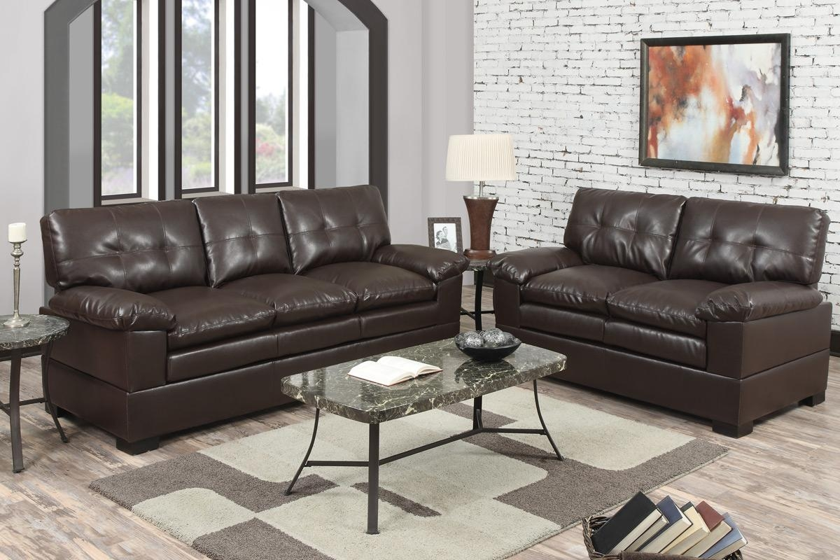 2 Piece Espresso Bonded Leather Sofapoundex F7360 In 2 Piece Sofas (View 2 of 20)