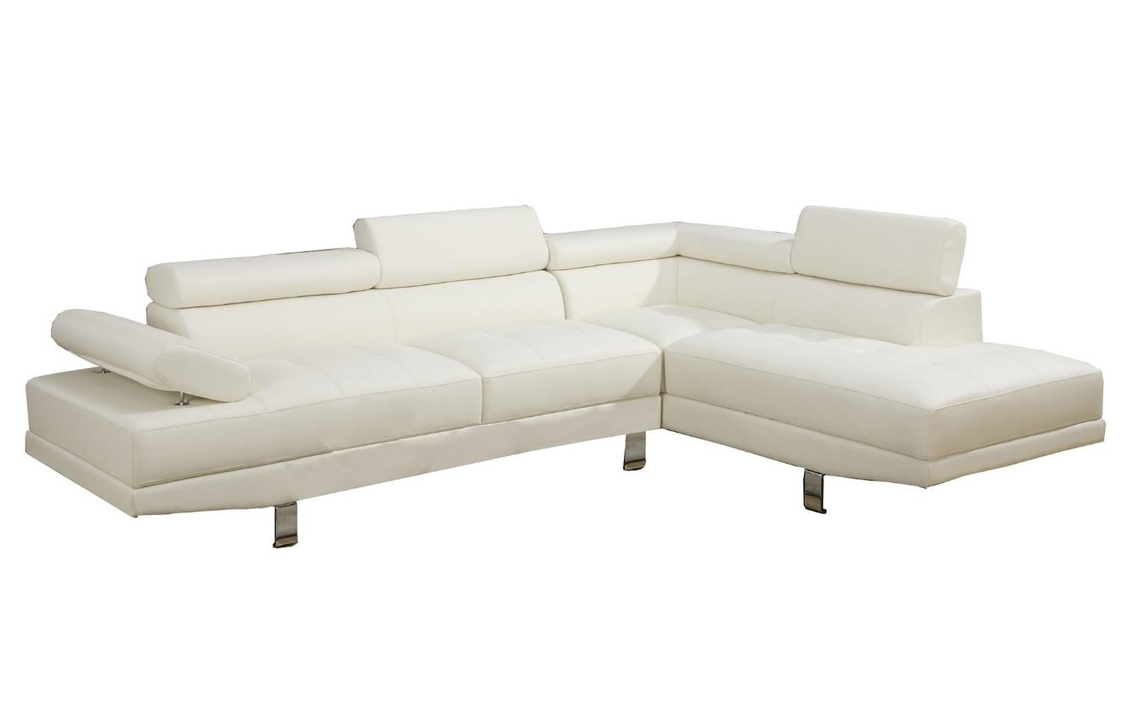 2 Piece Modern Bonded Leather Right Facing Chaise Sectional Sofa Throughout Sectional Sofa With 2 Chaises (View 15 of 20)