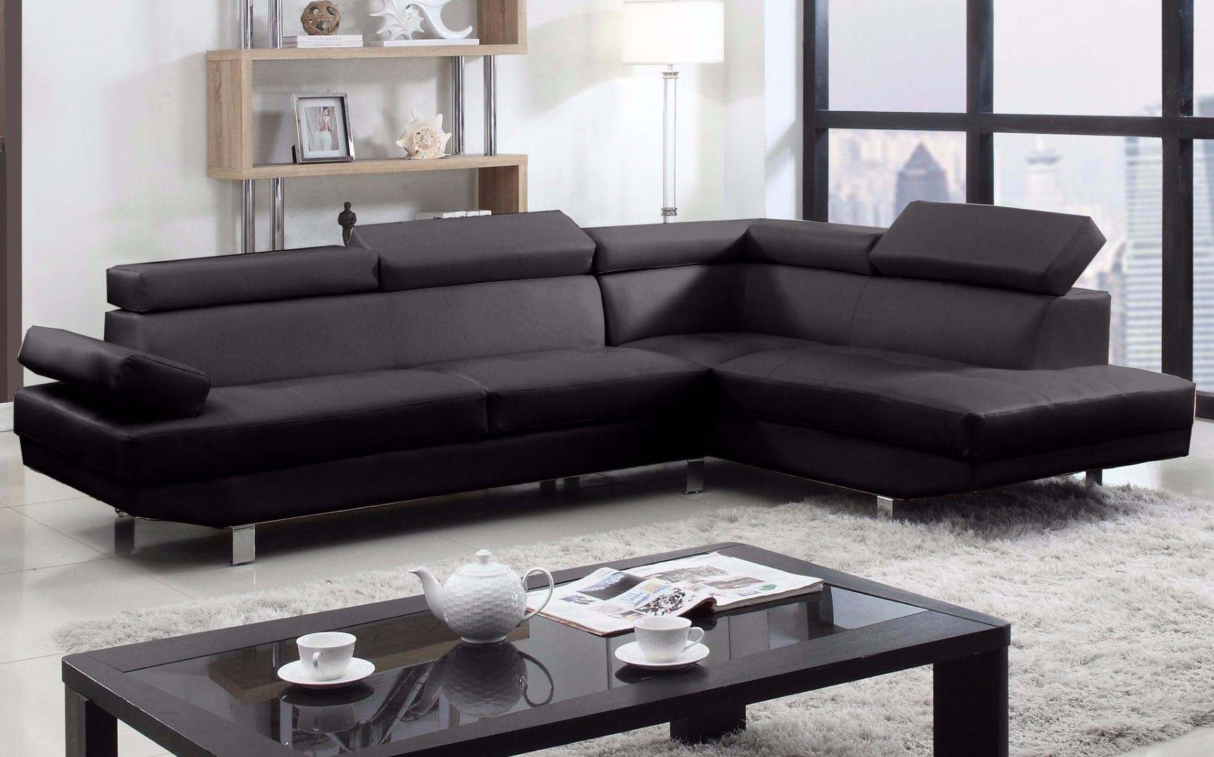 2 Piece Modern Bonded Leather Right Facing Chaise Sectional Sofa Throughout Sectional Sofa With 2 Chaises (Image 1 of 20)