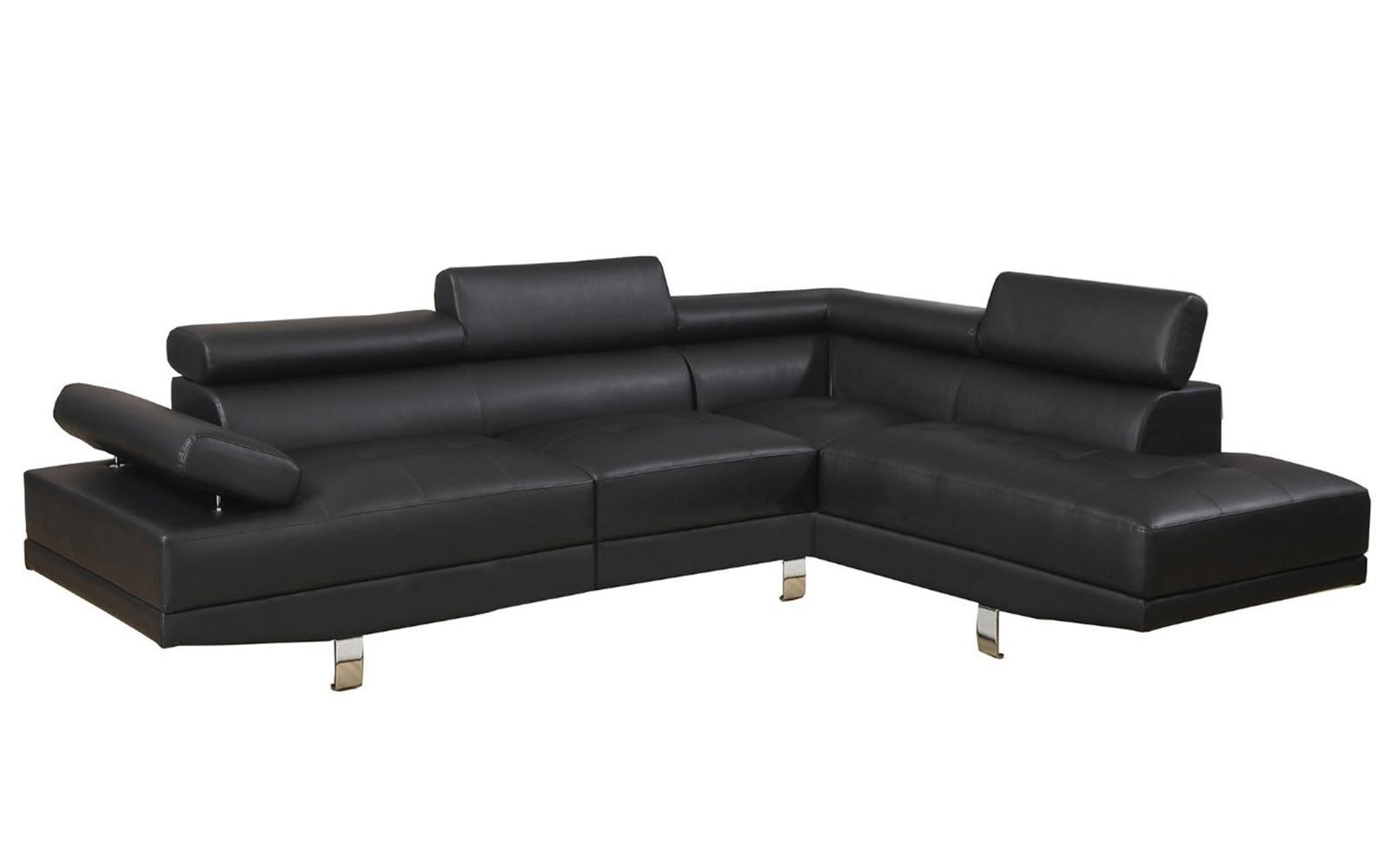 2 Piece Modern Bonded Leather Right Facing Chaise Sectional Sofa Within Sectional Sofa With 2 Chaises (Image 3 of 20)