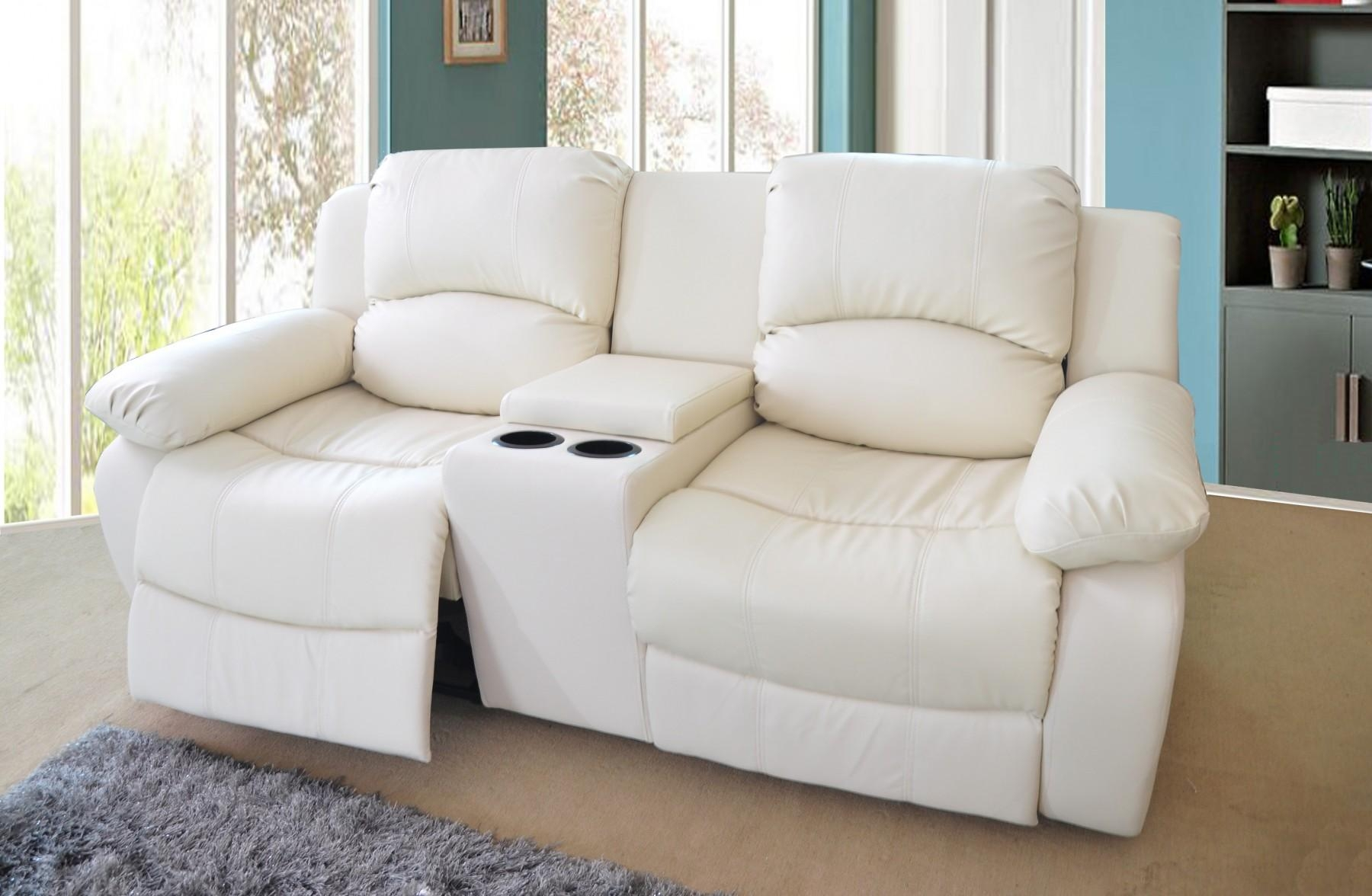 2 Seater Bonded Leather Recliner Sofa With Drinks Console - Cream regarding 2 Seat Recliner Sofas