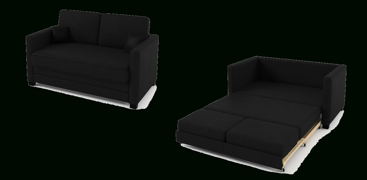 2 Seater Sofa Bed Black Fabric Pertaining To Black 2 Seater Sofas (Image 1 of 20)