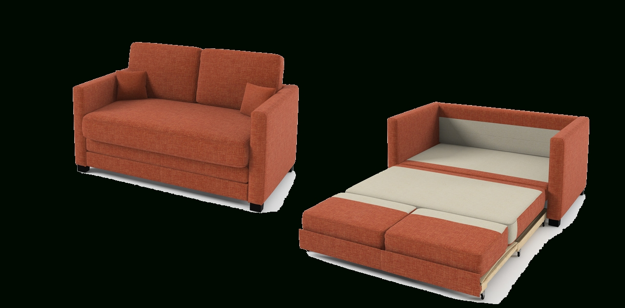 2 Seater Sofa Bed Orange Fabric Intended For Orange Sofa Chairs (View 17 of 20)