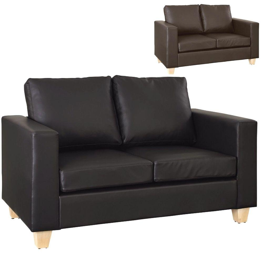 2 Seater Sofa Black Or Brown Faux Leather Modern Design Living inside Black 2 Seater Sofas