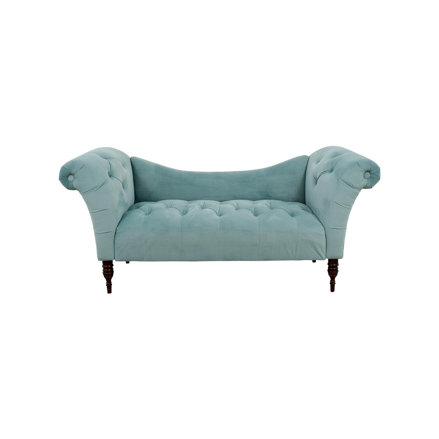 25% Off - Skyline Skyline Aqua Tufted Velvet Settee / Sofas with Skyline Sofas