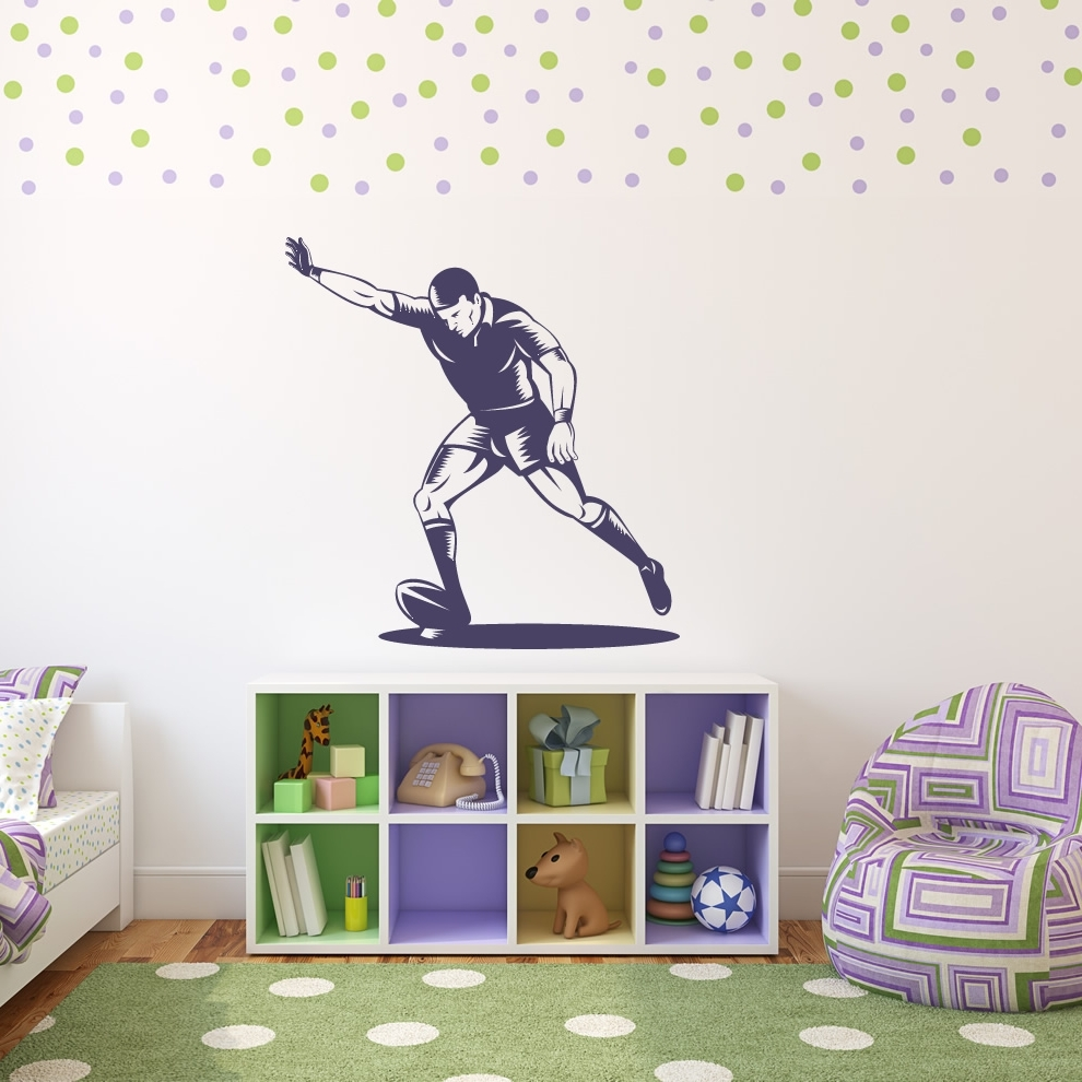 28+ [ Sport Wall Stickers ] | Footballer Running Sports Wall Art Throughout Sports Wall Decals (View 6 of 9)