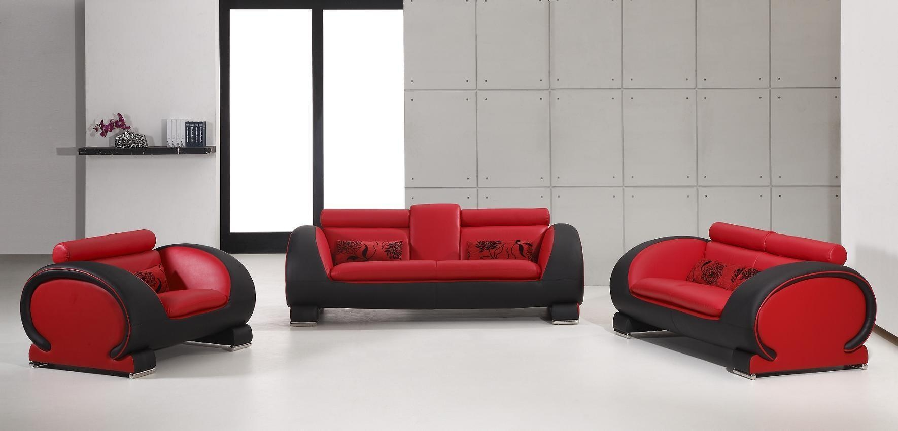 2811 – Red & Black Bonded Leather Sofa Set Nova Interiors In Black And Red Sofas (Image 2 of 20)