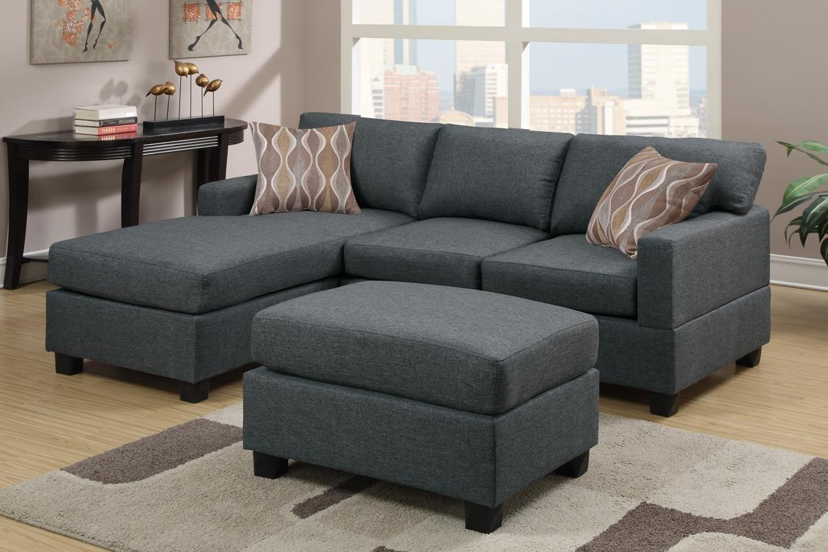 3 Pcs Reversible Gray Sectional Sofapoundex – F7496 Inside Poundex Sofas (View 11 of 20)