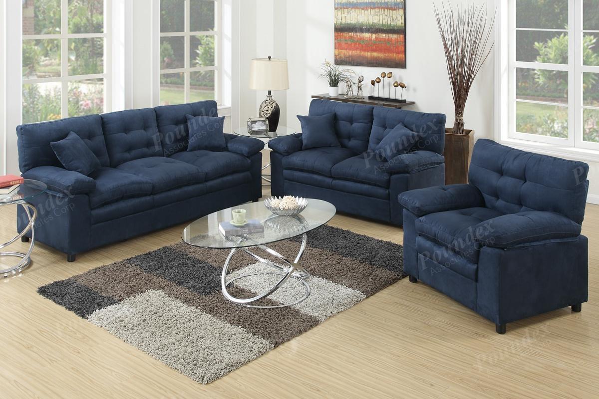 3-Pcs Sofa Set | Sofa / Loveseat | Bobkona Furniture | Showroom inside Poundex Sofas