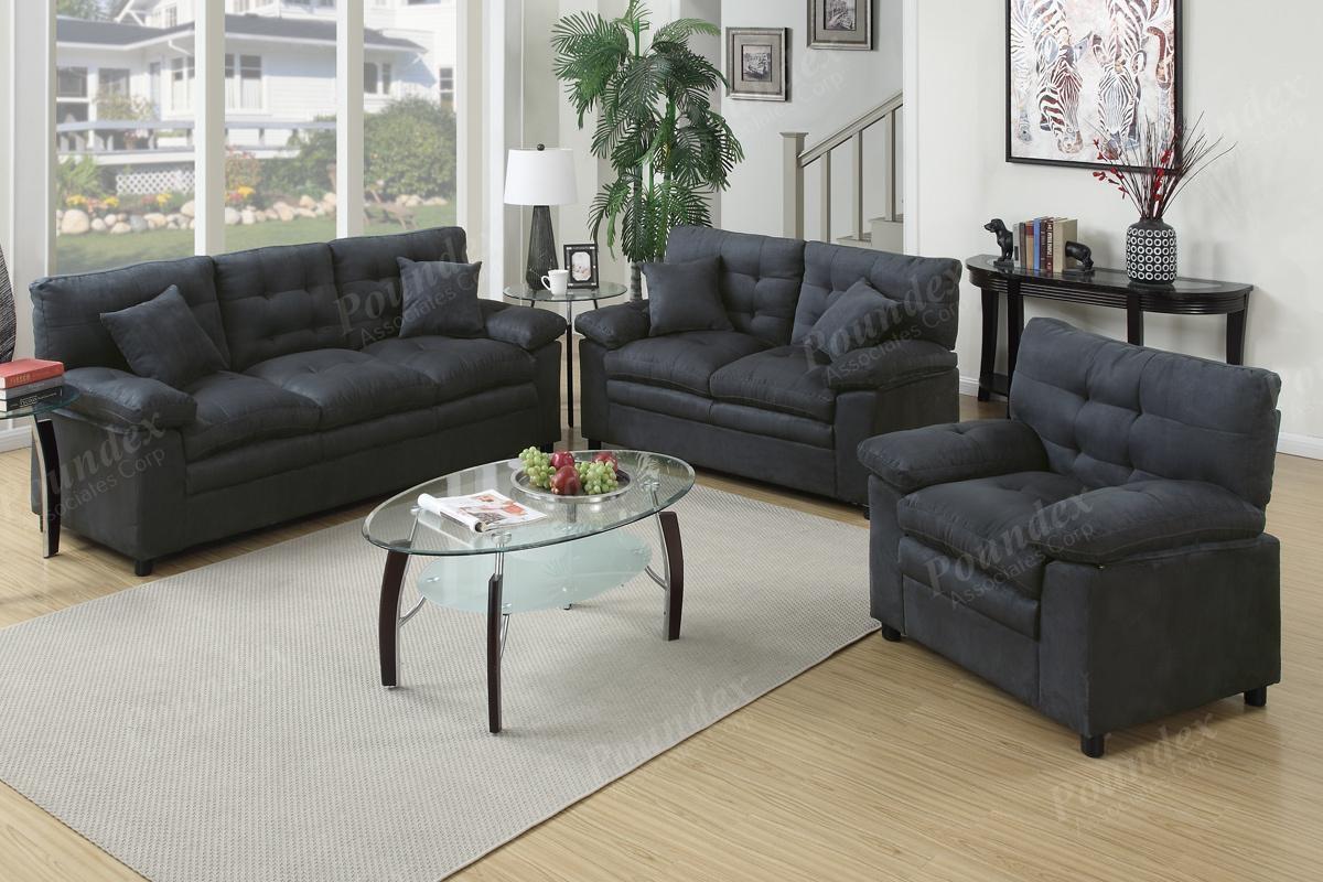 3-Pcs Sofa Set | Sofa / Loveseat | Bobkona Furniture | Showroom regarding Poundex Sofas