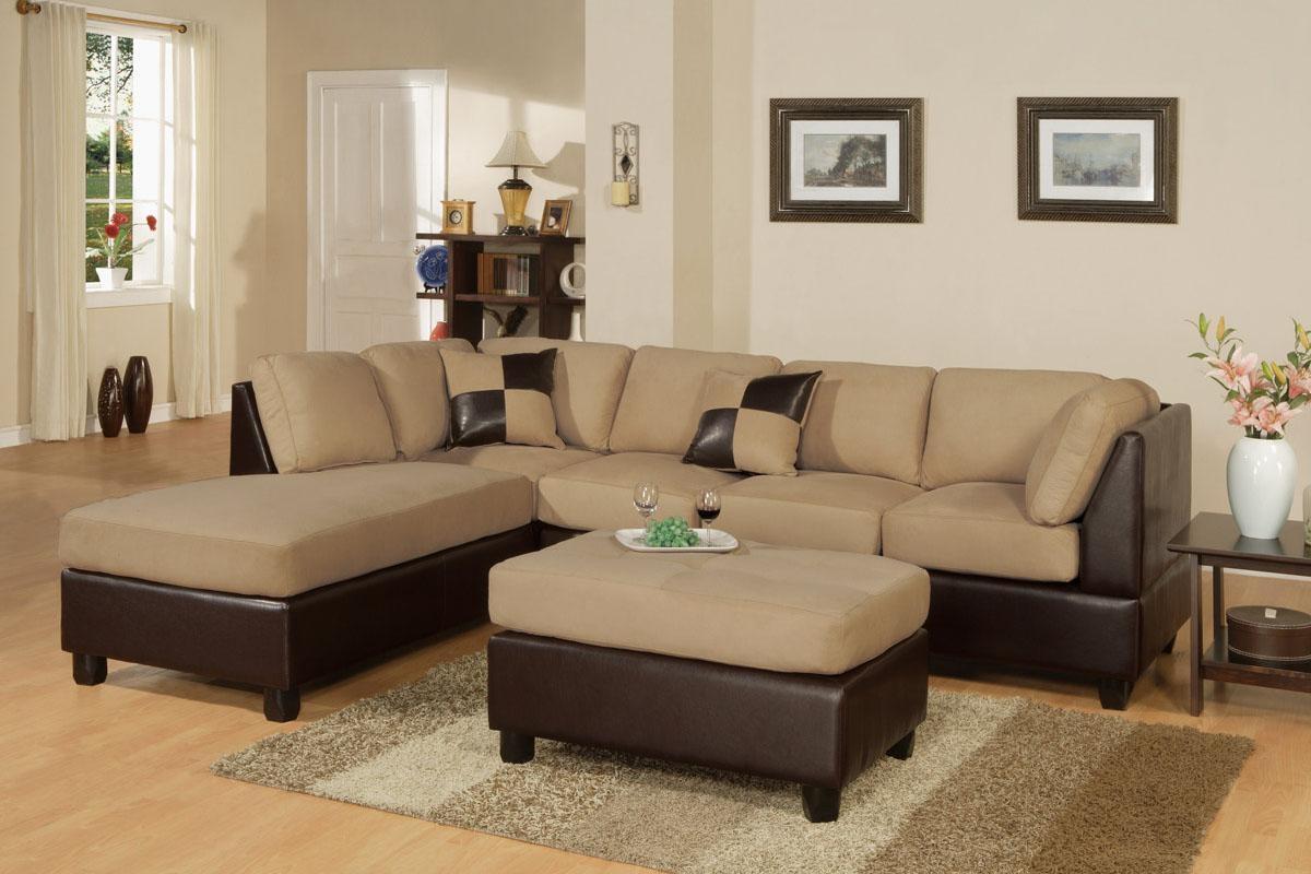 3-Piece Sectional Sofa And Ottoman - Two Tone Microfiber, Hazelnut pertaining to Two Tone Sofas