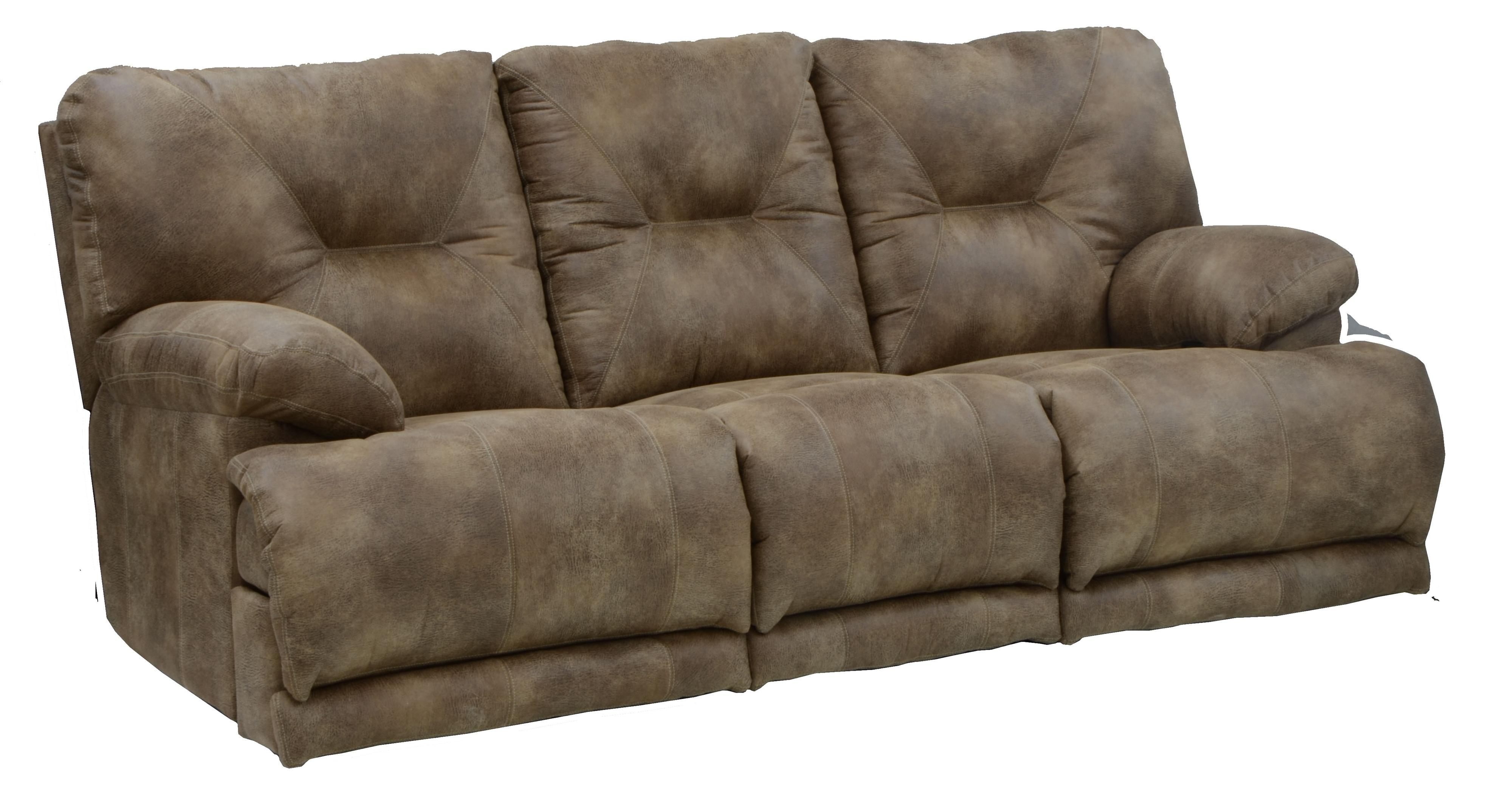 "3 Seat ""lay Flat"" Reclining Sofa With Fold Down Middletable Pertaining To Catnapper Recliner Sofas (Image 1 of 20)"