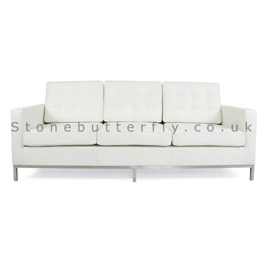 3 Seat Sofa, Florence Knoll Inspired – White Leather Intended For Florence Knoll 3 Seater Sofas (View 18 of 20)